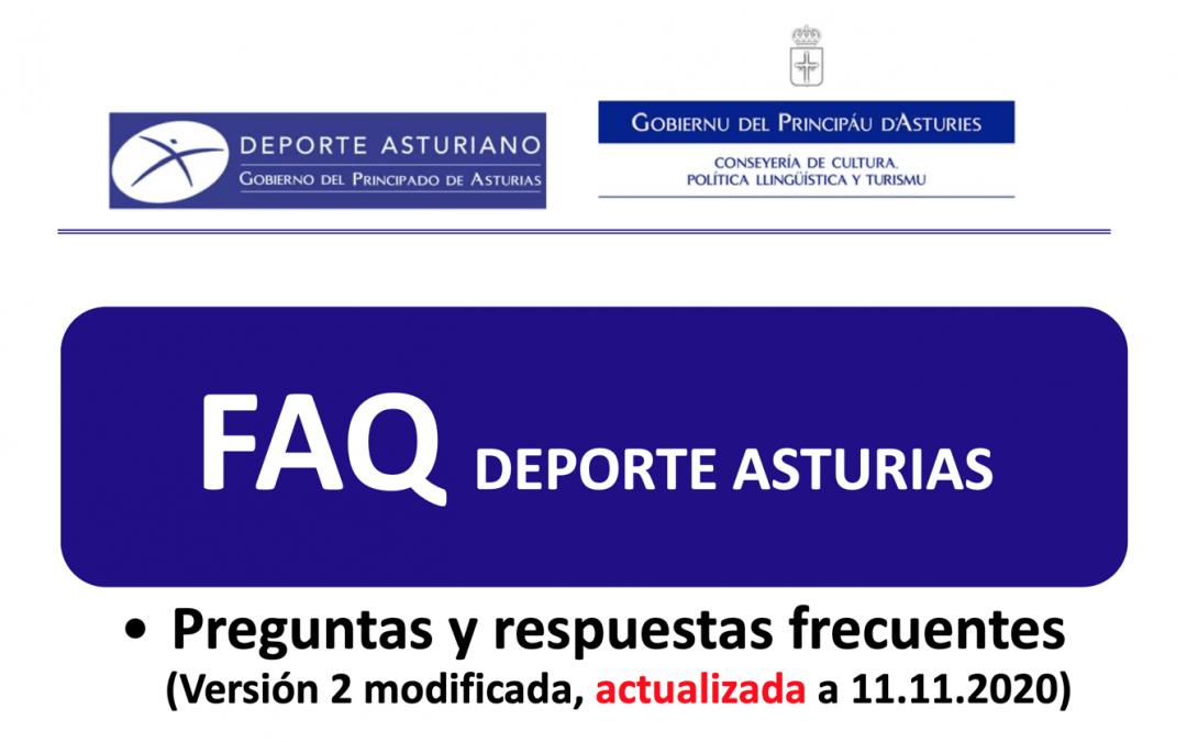 Actualización de la Guía de Preguntas frecuentes del Deporte en Asturias ante el covid-19